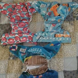 2 Alva Baby Pocket Cloth Diapers and 1 Cover